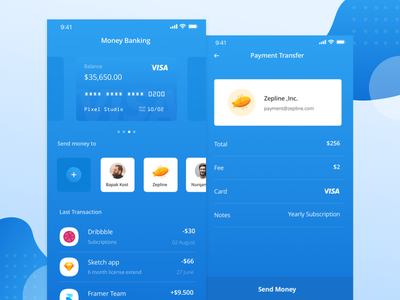 Banking Apps transfer money blue payment illustration mobile card credit paypal debut apps bank