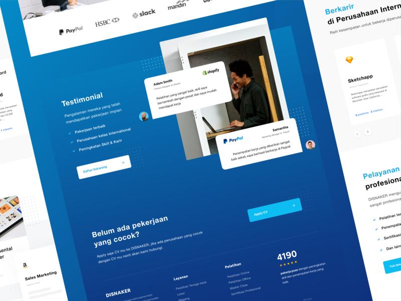 Disnaker Landing Page shop ux dribbble debut mobile ui mobile job application job listing job landingpage website