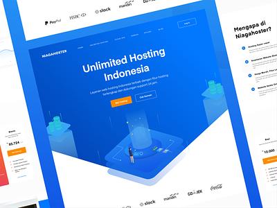 niagahoster web exploration. ecommerce shop ux gradient flat illustration hosting internet web ui color landing