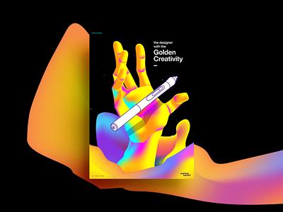 Golden Creativity Poster gradient vector illustration graphicdesign layout