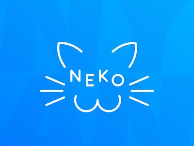 Neko icon typography vector logo