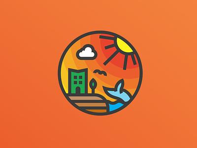 Tourism based logo design flat vector icon logo