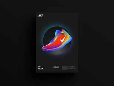 Flyknit poster gradients layout illustration design