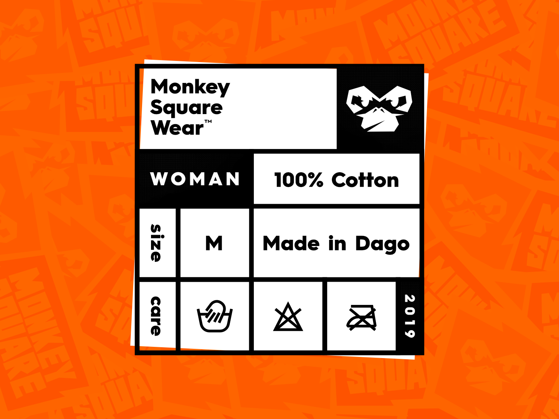 Monkey Square t-shirt label logo branding vector layout typography design