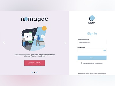 Desktop login page - nomaade (fictional)