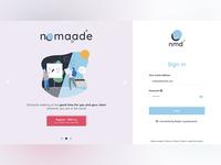 Desktop login page - nomaade (fictional)