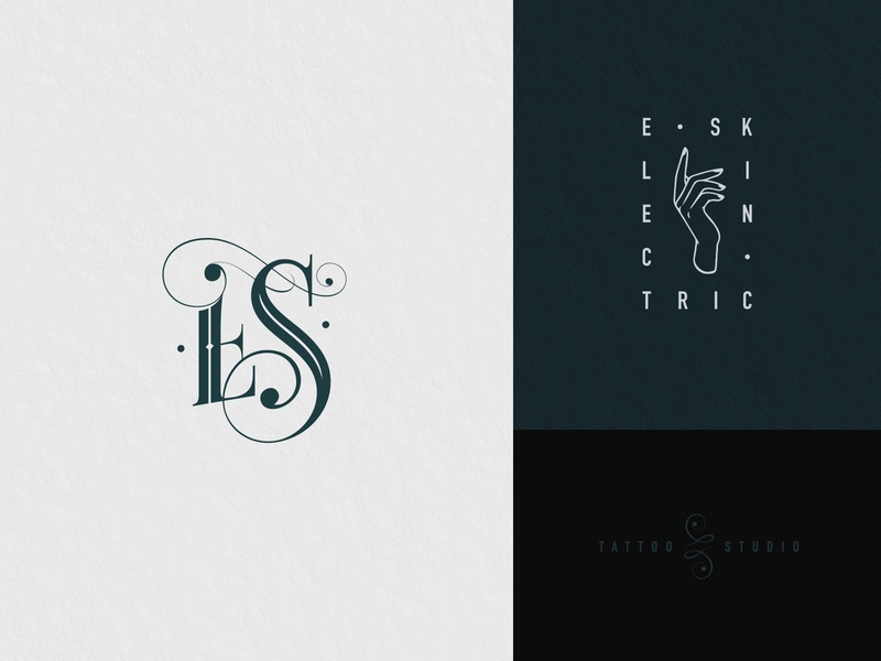 Electric Skin tattoo illustration lettering type icon vector typography design logo branding