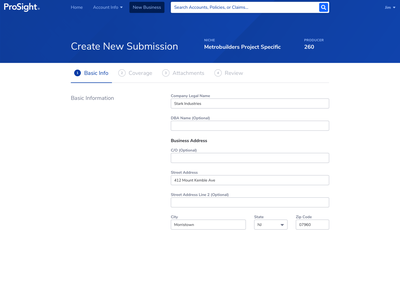 Online Submissions interface workflow long forms insurance ux web form ui