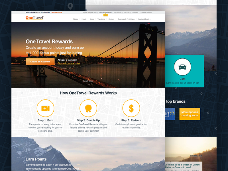 OneTravel Rewards travel rewards loyalty ui corporate video splash landing web