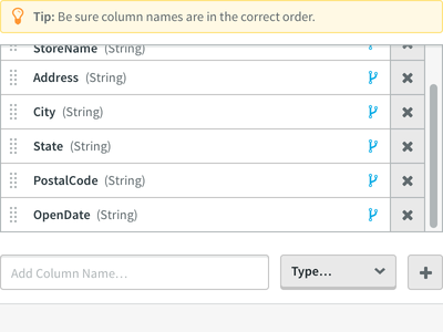 Add Column Name... mapping settings table data administration admin