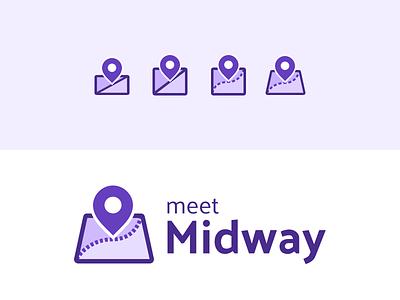 MeetMidway Logo Iteration iteration branding purple logo