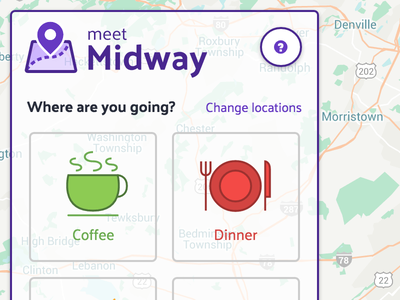 Where are you going? location social dinner map purple flat ui