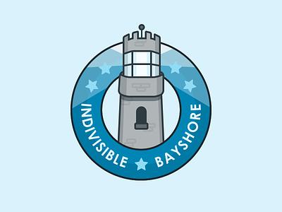 Indivisible Logo  stars political light house illustration round logo lighthouse logo