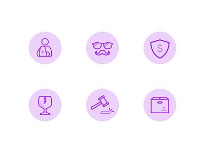 Liability Icons insurtech insurance mustache monotone illustration purple icons
