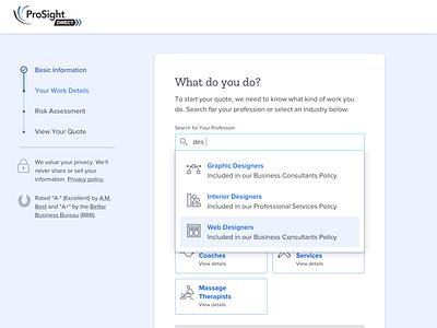 Liability Insurance Quote web forms insurtech desktop ui small business ux insurance