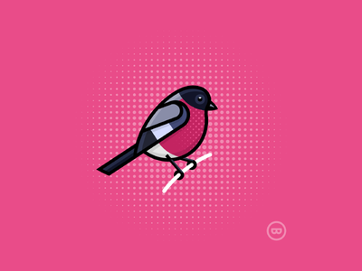 Pink Finch outline cute illustration vector wildlife finch bird pink