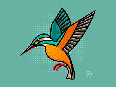 Kingfisher flat outline cute illustration vector wildlife kingfisher bird