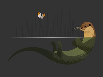 Wildlife Poster - Otter and Orangetip wildlife vector butterfly orangetip otter animal