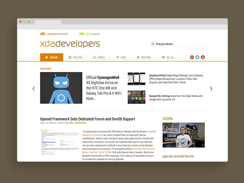 XDA Developers - Mockup xda developers mockup sketch redesign web ui ux website