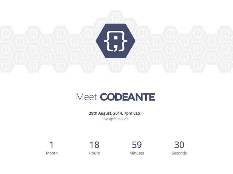 Codeante - Launching Very Soon codeante launch apfeltalk livestream landing countdown