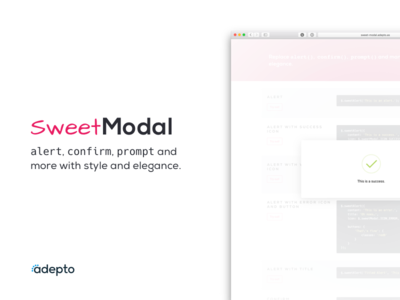 SweetModal - jQuery Library pink code website landing webpage library jquery sweetmodal modal sweet