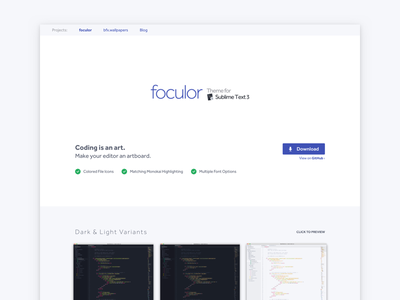 foculor - Theme for Sublime Text 3 highlighting syntax package landing website theme text sublime