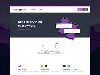 PushNotifier – Version 2 gidix landing purple service notifications pushnotifier