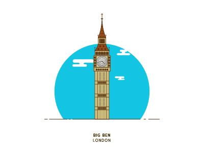 Big ben, London flat design illustration