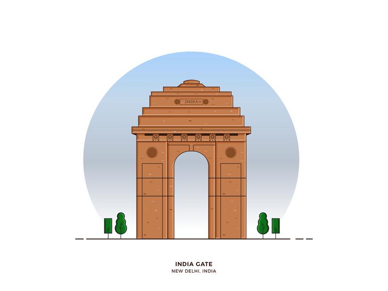 India gate flat desig india india gate illustration