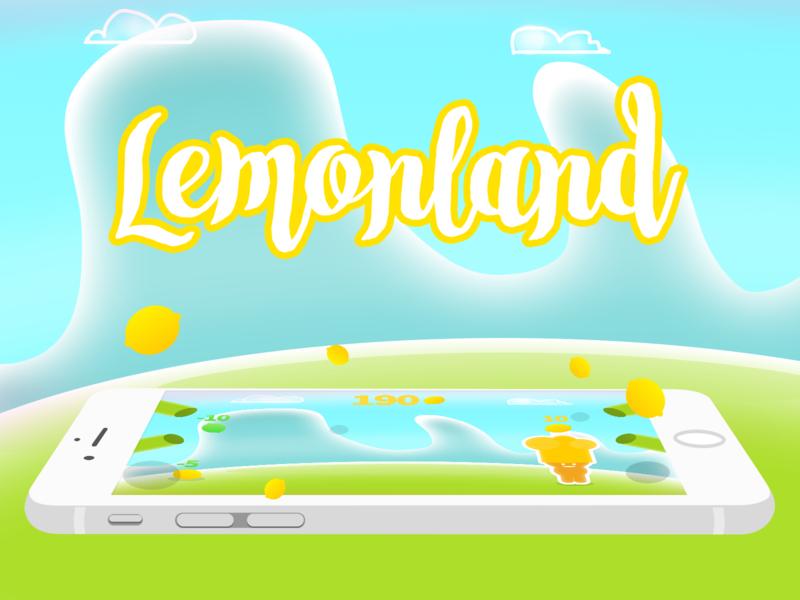 Lemonland illustration 2d blue green lemon mobile game character concept game art game design