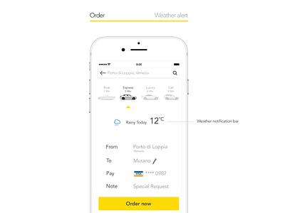 Gett concept wheater alert car sharing yellow white app taxi app uber gett