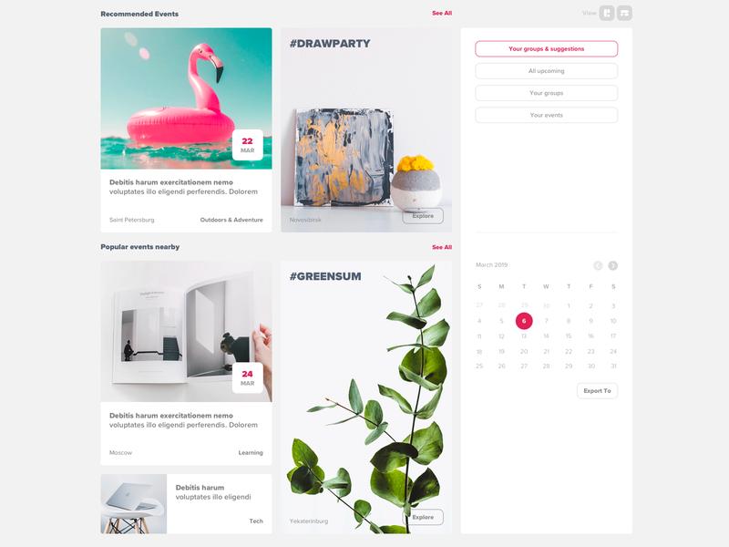 Octopus Event Platform feed design white ux ui dashboard even