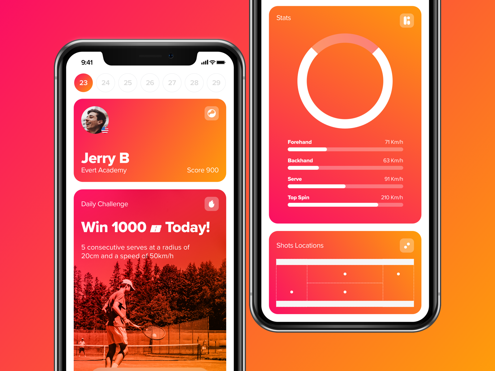 AngleViewApp tennis concept app product sketch