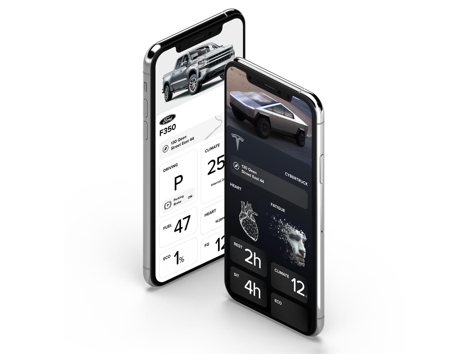 Tesla CYBERTRUCK app mobile ux ui cybertruck sketch