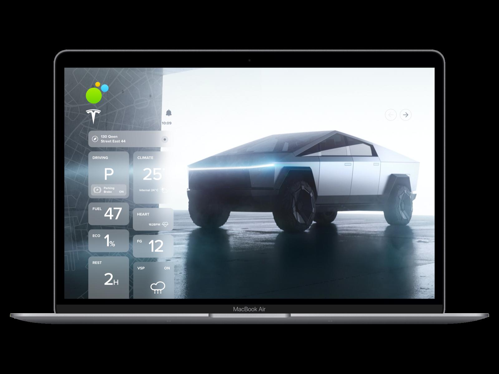 Tesla CYBERTRUCK ux ui dashboard app cybertruck sketch