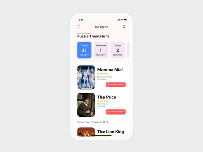 Theatre App - Interactions ux ui mobile interactions app ios