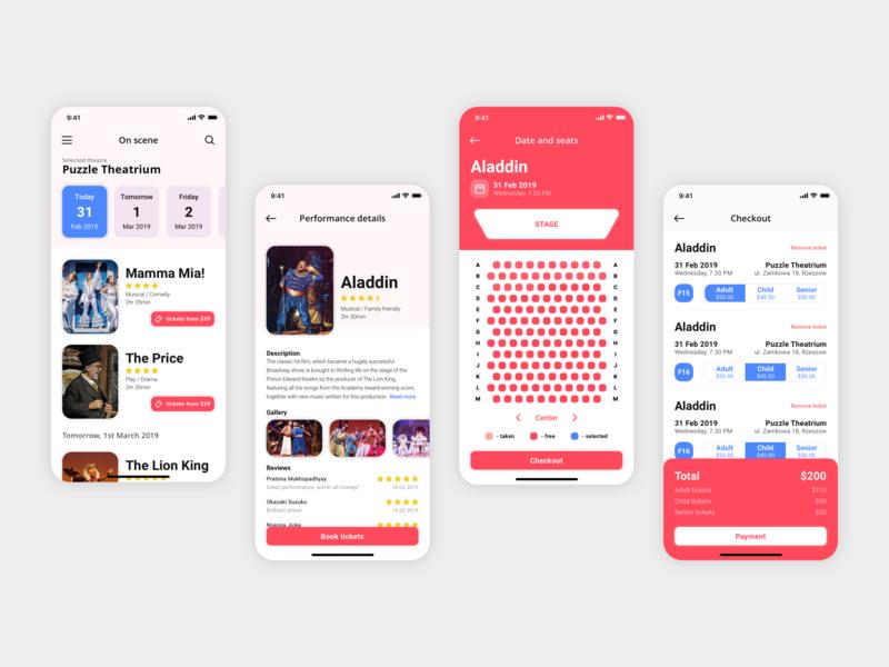 Theatre App - User Interface design product app mobile ux ui ios
