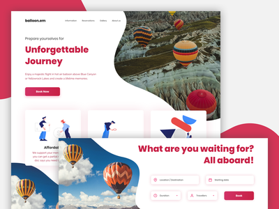 ballon.em - Website web page landing design product ui rental booking webiste