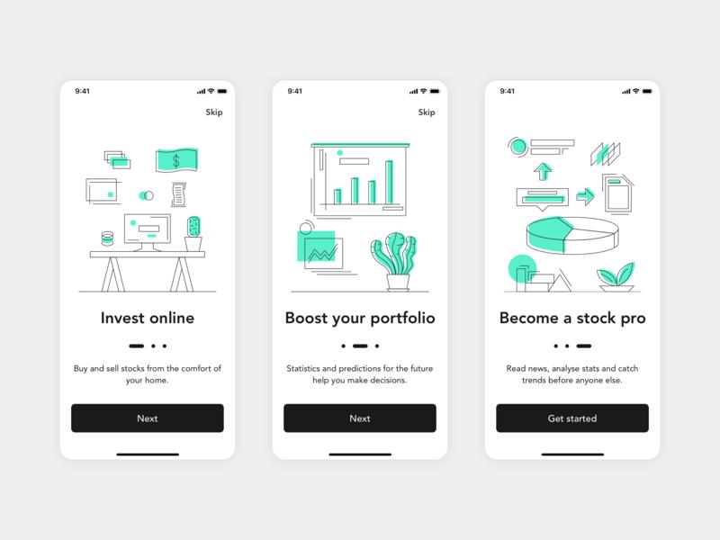 Investment App Onboarding sketch ux ui illustration mobile ios investment app screen onboarding