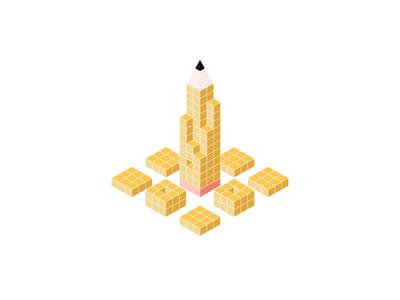 Pencil Design System Animation branding cube pencil brainly animation illustration isometric