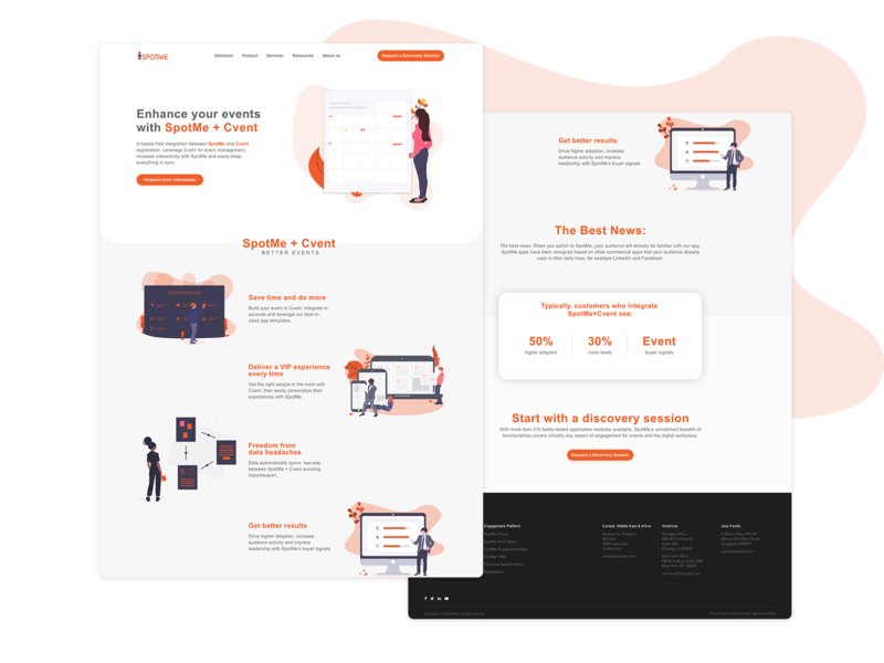 SpotMe Landing Page landing page concept landing page design white light orange event page organizer event management event app landing page ui landing page