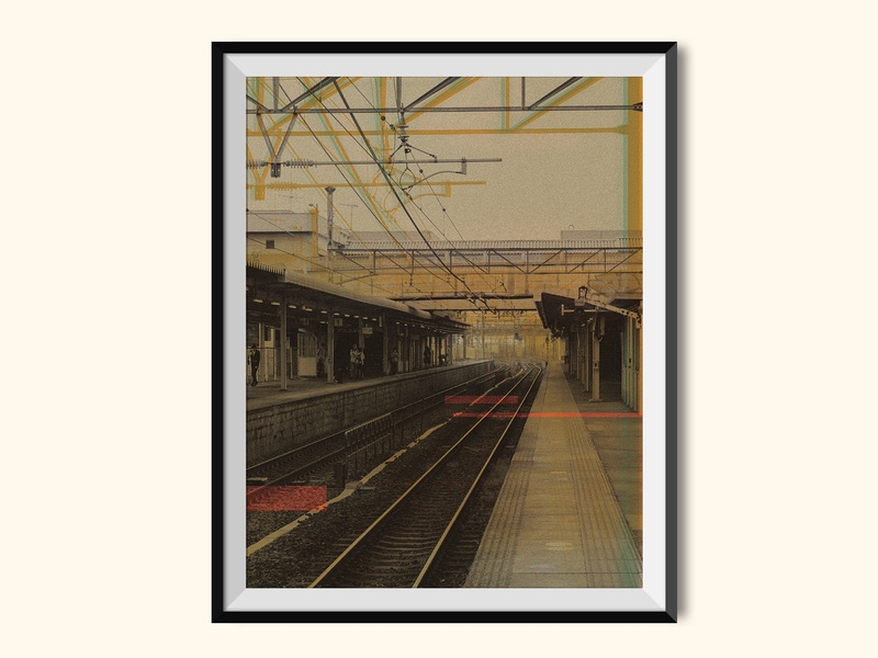 Railway Station glitch color bars halftones halftone photoshop train station collage design poster a day poster art