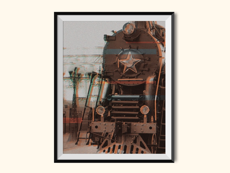 Steam Locomotive railways railway poster art poster train halftones halftone glitch effect glitch color bars collage