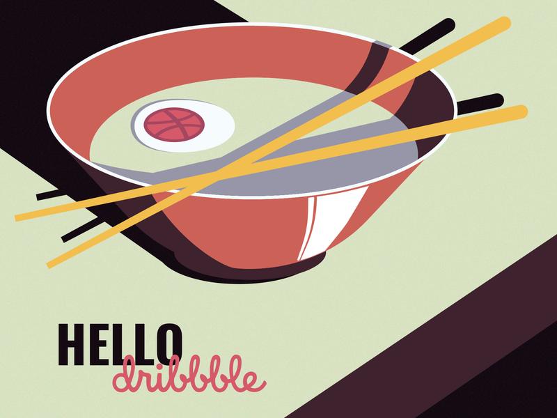 Hello dribble plate flat design vector illustration