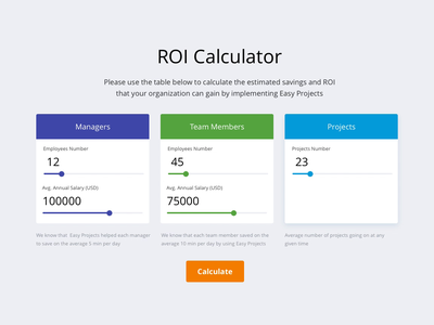 Calculator management project management enterprise calculator roi calculator roi website design web design website web
