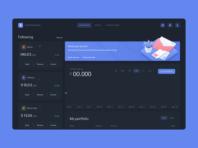 Dashboard animation for cryptocurrency exchange platform after effects analytic balance withdraw cash money dark theme exchange rate chart bitcoin dashboad wallet cryptocurrency crypto mentalstack illustration animation ux ui