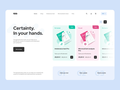 Lab tests landing page e-commerce ecommerce homepage transparent products shop landing how it works micronutrients intolerance interactions laboratory tests lab medicine health design illustration animation ui mentalstack