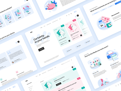 Lab tests landing page e-commerce analysis medicine health food intolerance micronutrients how it works human pet products laboratory laboratory tests lab shop landing illustration animation ui mentalstack