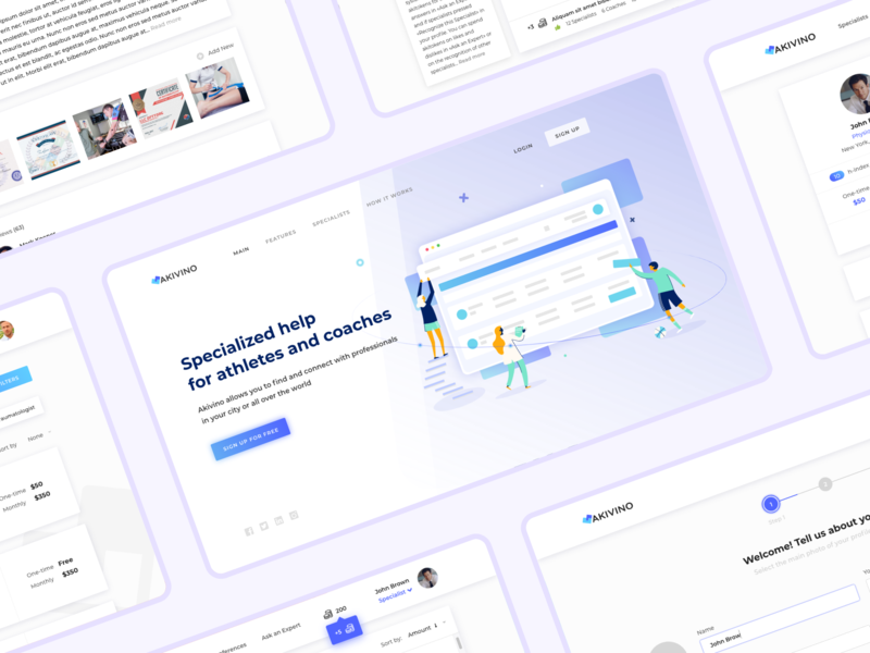 System for sports specialists and athletes help coach training specialist illustration ux ui system medicine athlete sports akivino landing page web