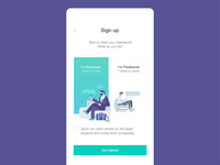 Sign up screen for a global writing freelancing platform